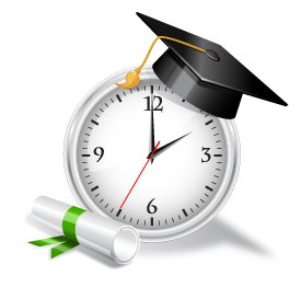 clock with cap and diploma